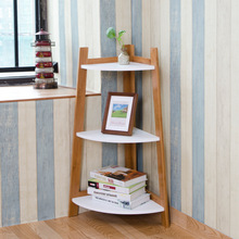 Lanskaya Creative Country Style Furniture White Book Shelves Bookcase Decorative Wall Shelf Three Layer Rack Loft