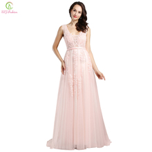 Vestido De Noiva SSYFashion Sweet Pink Lace Beading Long Evening Dresses The Bride Banquet V-neck Backless Formal Party Dresses(China)