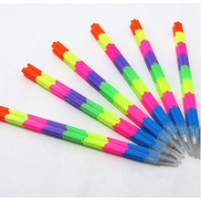 2Pcs/lot Building Block Kids Pencil Toy Gift Multifunction Colorful Stacker Swap Pencils(China)