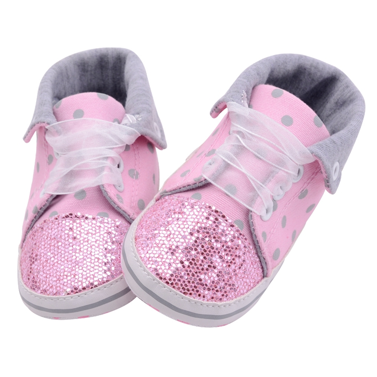 Infant Newborn Baby Girls Boy Glitter Polka Dots Autumn Lace-Up First Walkers Sneakers Shoes Adorable RibbonToddler Canvas Shoes 14