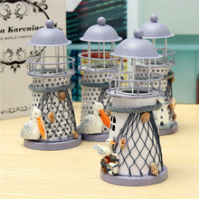 Modern Mediterranean Style Lighthouse Wrought Iron Candle Holder Candlestick For Home Decoration Crafts Gift Pattern Randomly