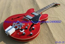 Best JAZZ ES335 Electric guitar cherry red see thru color,chrome parts,bigsby tremolo,black pickguard,Real photo shows