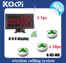 Wireless Call Calling System Waiter Service Paging for restaurant, 1 display screen K-4-C + 20 buttons call;bill;cancel H3(China)