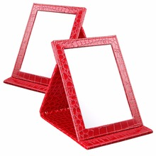 Red S:12*17.5*1.6CM Alligator Pattern Portable Foldable Makeup Mirror Leather Cosmetic Mirror Women Beauty Make Up