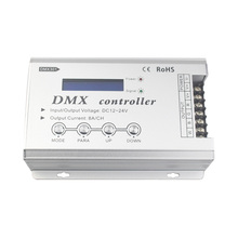 DC12-24V DMX controller with LCD display control RGB color change of 4 line 3 channels LED lamps,1 channel brightness adjustable(China)