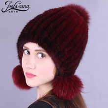 JOOLSCANA winter hats for women fur pompom cap women hat russian fur cap winter beanie real mink fur knitted caps fox pompom