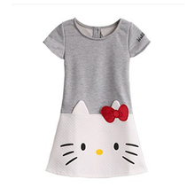 2017 spring girl's clothes Hello Kitty cartoon print T-shirt girl's clothes children's Christmas dress 2-6t girl's clothes
