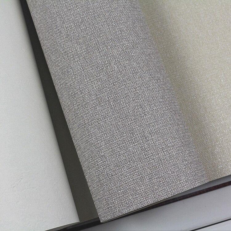 Classic Gray Linen Texture Solid PVC Wallpaper <br>