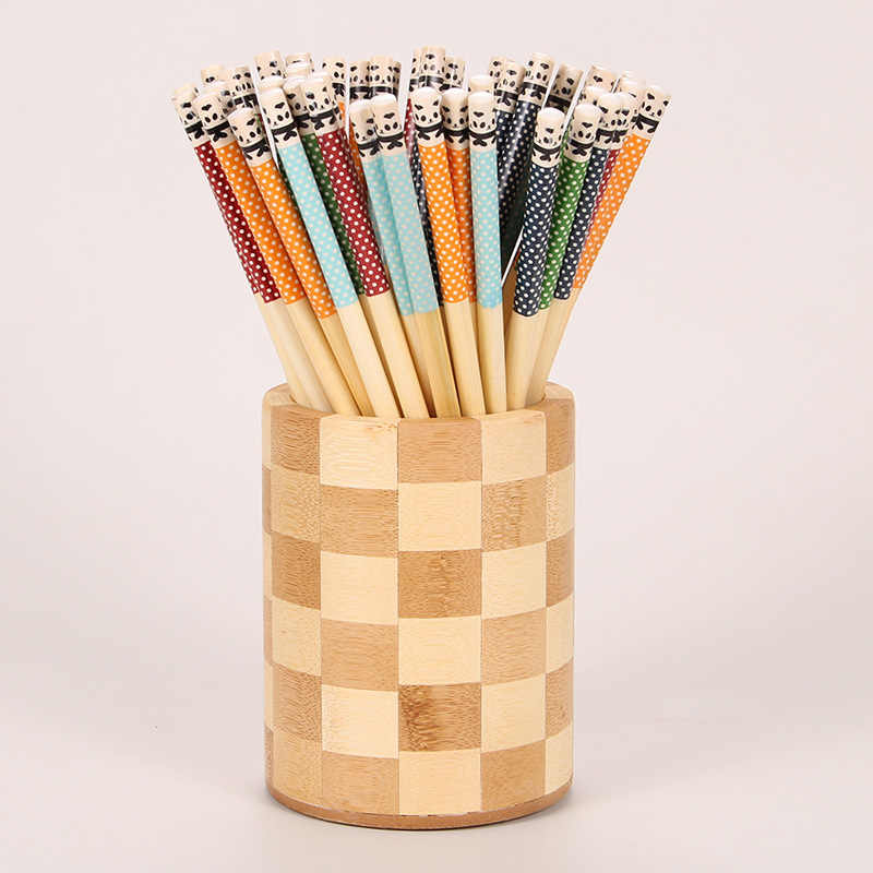 5 Pairs Panda Dot Wooden Chopstick Multi-Color Kitchen Restaurant Canteen Tool Reusable Tableware Natural Bamboo Chopsticks