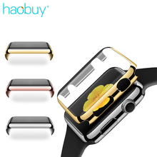 2 In 1 Plating Plastic Full Covered Screen Protector Protection Cover For Apple Watch Series 1 2 38mm 42mm Electroplating Case