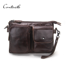 CONTACT'S Vintage Men Messenger Bags High Quality Soft Genuine Leather Large Capacity Travel Men Bags Dollar Price Handsome Man(China)