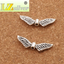 Angel Wing Charm Beads Spacers Jewelry Findings L192 31pcs 23.9x7.9mm Antique Silver(China)