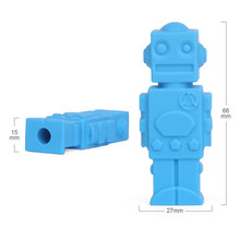Cartoon Robot Shape Pencil Pen Cap Children Chewing Teether Safty Non-toxic Silicone Teething Toy Pencil Cover for Students Kid(China)