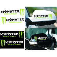 2PCS/LOT Cool Monster Car Rear View Mirror Stickers Car styling Covers Accessories Motorcycles Wall Decals Reflective Vinyl