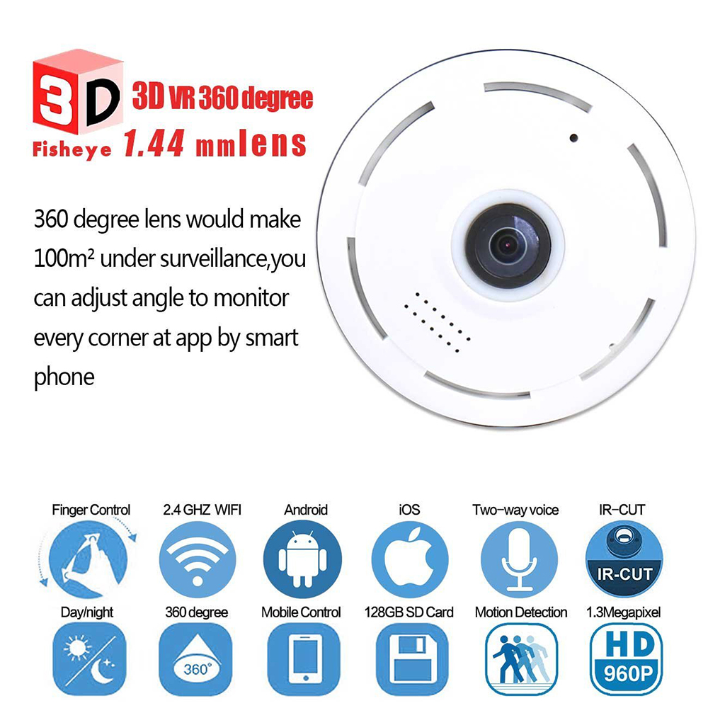 HD FishEye IP Camera 960P 360 Degree Full View Mini CCTV Camera 1.3MP Network Home Security WiFi Camera Panoramic IR 1280*960<br>