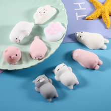 5pcs/lot Anti-stress Squishy Toy Mini Soft Silicone Squishy Cat Animals Hand Squeeze Rubber Cute Squishes Gags Toys(China)