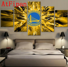 AtFipan Modular Pictures 5Pcs Golden State Warriors Fun Logo Modern Poster Canvas Painting On The Wall Pictures For Living Room