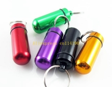 500pcs/lot Free Shipping Aluminum Pill Box Case Bottle Cache Drug Holder Container Keychain Medicine Box Waterproof Health Care