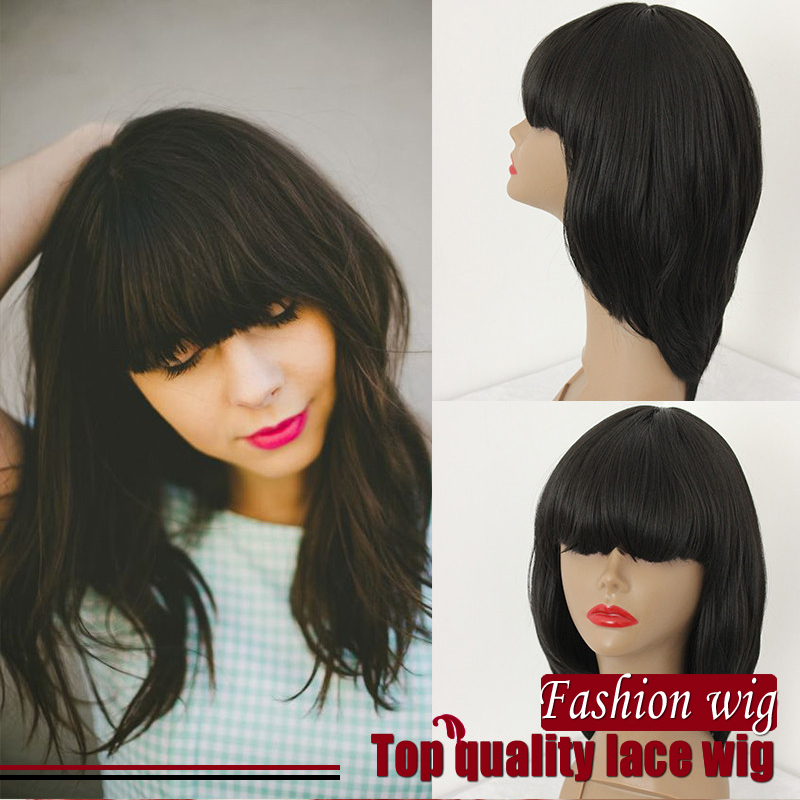 2017 New Style No lace Wig With Bangs Short Hair Wig Glueless Heat Resistant Fiber Wig Wholesale Synthetic NO Lace Wig<br><br>Aliexpress