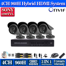 4 Channel 960H DVR with SONY HD 1200TVL Security camera System 4ch video surveillance cctv dvr hdmi 1080p usb 3g wifi