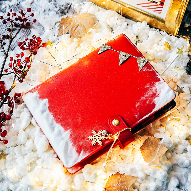 2017 Dokibook Winter Series Warm Sun A5 A6 A7 Red Cover Snap Loose Leaf Planner<br>