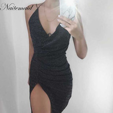 NATTEMAID Sexy sleeveless V-neck halter sequin bodycon dress women party night wear dancing dresses silver sequined vestidos(China)