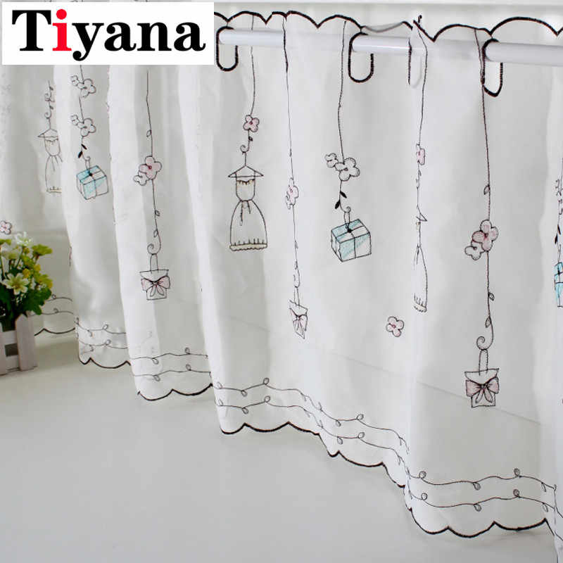 White Sheer Half Finished Coffee Short Curtains Semi-shade Girl Gift kitchen cabinet curtains Cabinet Screen Partition SC014D1