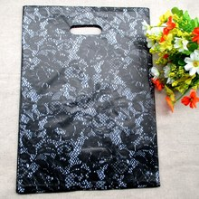 100pcs/bag 20*15cm Purple lace designs Gift Bags Plastic Pouches Shopping Gift Package Bag 2044(China)
