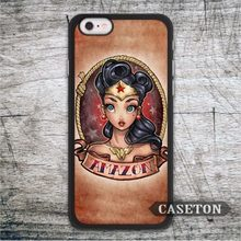 Lovely Cute Wonder Woman Retro Case For iPhone 7 6 6s Plus 5 5s SE 5c and For iPod 5 High Quality Classic Cover