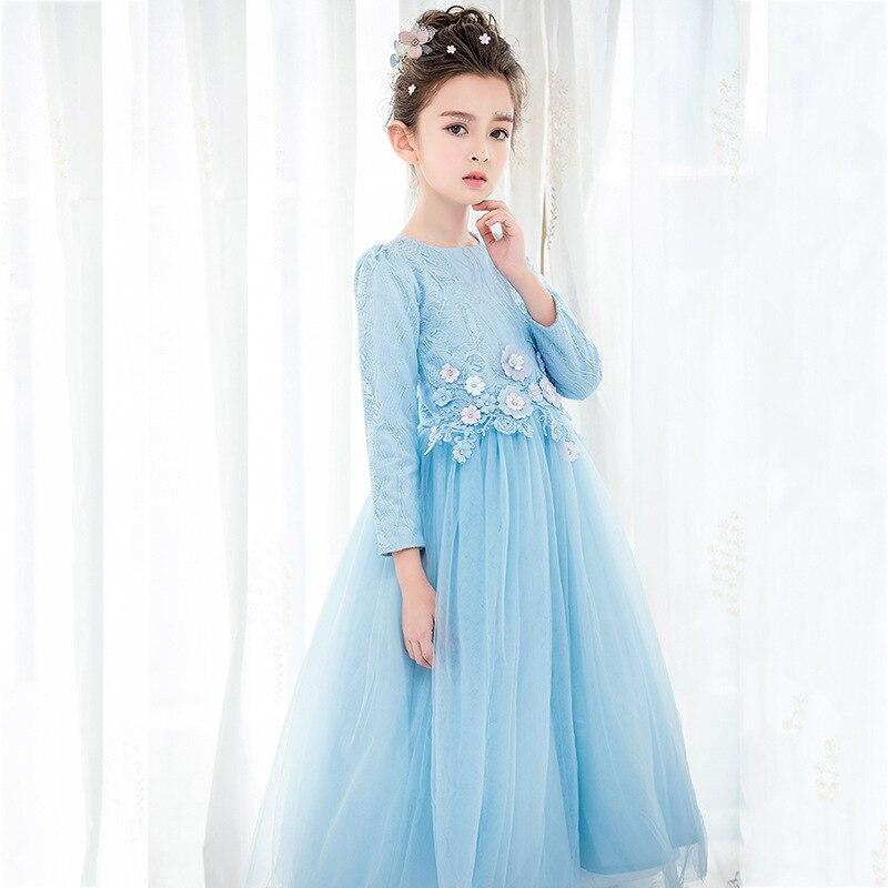 Travel snail 5-10 Y girls dress long sleeve costumes 2017 Fall  New vestido infantil robe princesse enfant fille solid long lace<br>