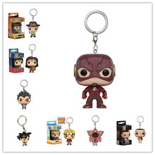 Funko POP The Flash Keychain Wonder Women Alien toy Figure Stranger Things Eleven Demogorgo  Dragon Ball christams gift toy