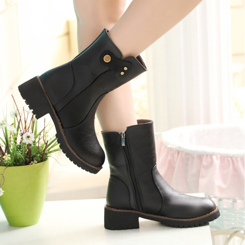 2016New Autumn Winter Fashion Women Boots Solid Round Zipper Ankle Boots For Women Shoes Black Brown Plush Females Boots ZK3.5<br><br>Aliexpress