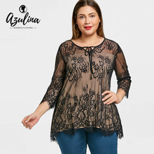 Buy AZULINA Plus Size Women Blouses Shirts New Fashions Scalloped Edge Lace Long Blouse Casual Ladies Tops Blusas Femininas De Ver O for $10.99 in AliExpress store