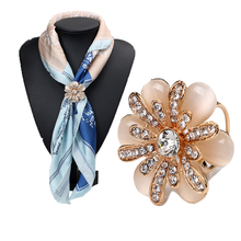 Rhinestone Crystal Flower Scarf Brooch Pins Opal Stone Flower Scarf Clips for Women Wedding Party 3792