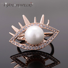 IYOE Rock Style Imitation Pearl Jewelry Rose Gold Color Eye Rings Women Cubic Zirconia Open Ring Wholesale