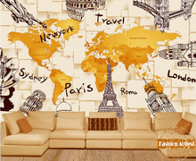 Custom yellow world map wallpaper mural world scenic spots on cubes tv sofa bedroom living room cafe bar restaurant background