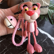 Fashion Cute Anime Cartoon Pink Leopard Keychain Key Ring Holder Women Girls Charm Bags Purse Accessories Pendant Car Key Chains