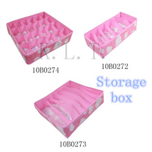 New Pink Various Grid Pattern Fashion Convenient  Folding Storage Box Bag for Bra Underwear Necktie Sock Organizer