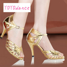 women's Latin dance shoes female high-heeled soft outsole  adult ballroom dancing shoes Salsa silver gold Tango Square shoe 6304