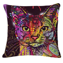 Animal Series Cartoon Style Throwpillow Decor Cushion Linen Cotton Colorful Cat Printed Pattern Throw Pillow Cushion Home Decor(China)