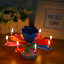 Birthday Lotus Flower Candles Beautiful Multicolor Music Candle Party Cake Music Rotating Petals Decoration Round Bottom A
