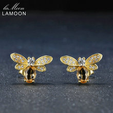 LAMOON Honey Bee Natural Citrine 925 sterling silver jewelry Fine Jewellery 14K Gold Plated Stud Earring