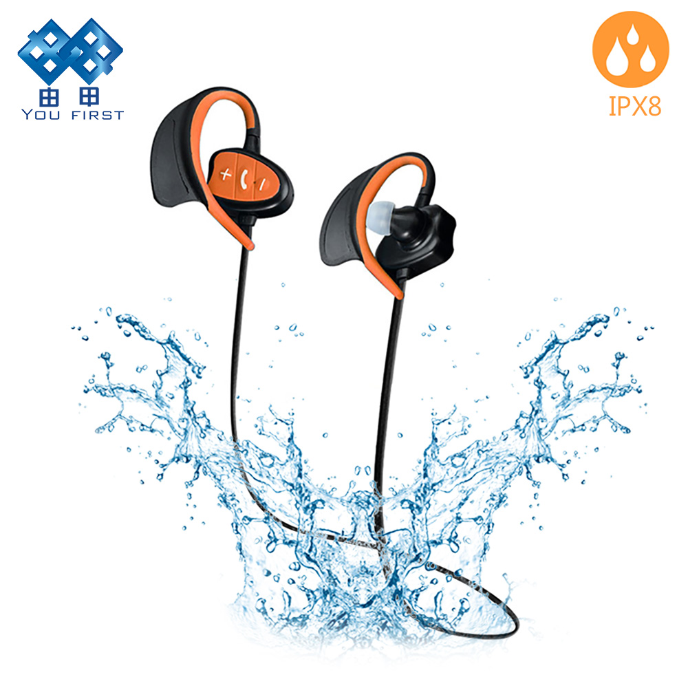 Wireless bluetooth earphone sport headphones waterproof earphones IPX8 Swimming bluetooth neckband bluetooth headset with mic<br>