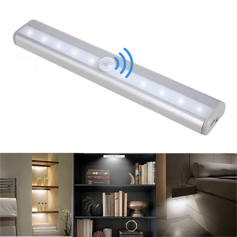 PIR Motion Sensor LED Under Cabinet Light Auto On/Off  6/10 LEDs for Kitchen Bedroom Armario Closet Wardrobe Night Light