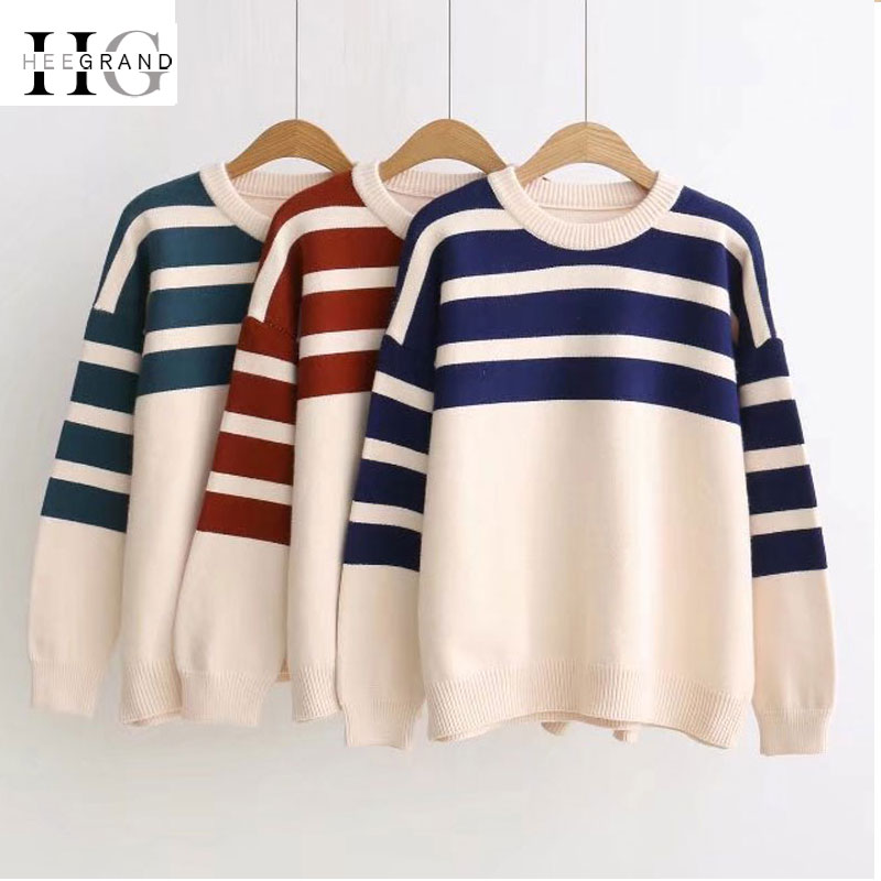 HEE GRAND Striped O-neck Pullovers Loose Lazy Wind Sweaters 2018 Autumn New Women Long Sleeve Tops Warm Knitted Outwears WZL1467
