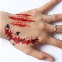 New 18 Types Cool Scars Tattoos Paste Eyes Spider Skull Scab Bloody Terror Wound Scary Blood Injury Sticker Halloween Decoration