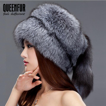 QUEENFUR Women Beanies Whole Knitted Fox Fur Hat With Tail 2017 Fashion Winter Warm Big Skullies Caps Brown Raccoon Fur Hats(China)