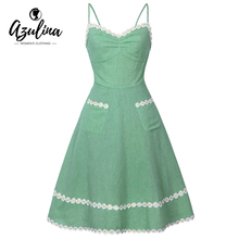 AZULINA Cute Vintage Women 50s 60s Dress Backless Spaghetti Strap Sleeveless Lace Green Female Retro Casual Summer Linen Dresses(China)