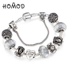 HOMOD Dropshipping Vintage Royal Crown Crystal Love Charm Bracelet Women  Snake Chain Pandora Bracelet Female Jewelry