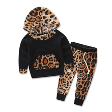 Autumn Children Clothing Sets Leopard Boys & Girls Long Sleeve Hoodie + Pants 2 Pcs Suits Kids Boys Clothes Baby Sports Suit(China)
